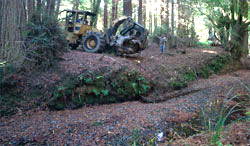 Placing a rootwad into Little Pepperwood Creek